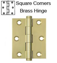 3 x 2-1/2 x Square Corners Solid Brass Hinge, Pair,  Deltana DSB3025