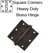 3-1/2 x 3-1/2 x Square Corners, Heavy Duty Solid Brass Hinge, Pair, Deltana DSB35