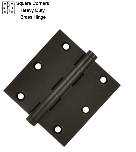 3 1/2 Inch HD Brass Door Hinge Square Corners