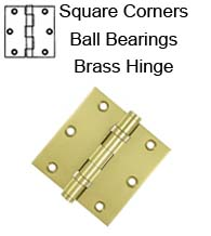 3-1/2 x 3-1/2 x Square Corners Heavy Duty with Ball Bearings Solid Brass Hinge, Pair, Deltana DSB35B