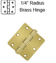 3-1/2 x 3-1/2 x 1/4 Radius Residential Solid Brass Hinge,  Pair, Deltana DSB35R4x-R