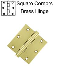 3-1/2 x 3-1/2 x Square Corners Residential Solid Brass Hinge, Pair, Deltana DSB35x-R