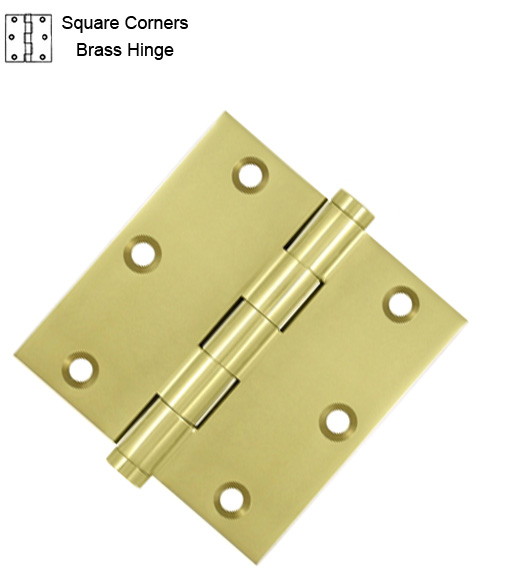 3-1/2 Inch Residential Brass Hinge Sq Corners