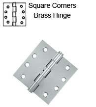 4 x 4 x Square Corners Solid Brass Hinge, Pair, Deltana DSB4