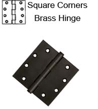 4-1/2 x 4-1/2 x Square Corners Solid Brass Hinge, Pair, Deltana  DSB45