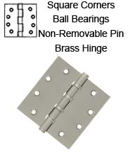 4-1/2 x 4-1/2 x Sq Corners Brass Hinges with Non-Removable Pin and Ball Bearings, Pair, DSB45NB