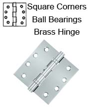 4 x 4 x Square Corners Heavy Duty with Ball Bearing Solid Brass Hinge, Pair, DSB4B