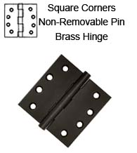 4 x 4 x Square Corners Solid Brass Hinge with Non-Removable Pin, Pair, DSB4N