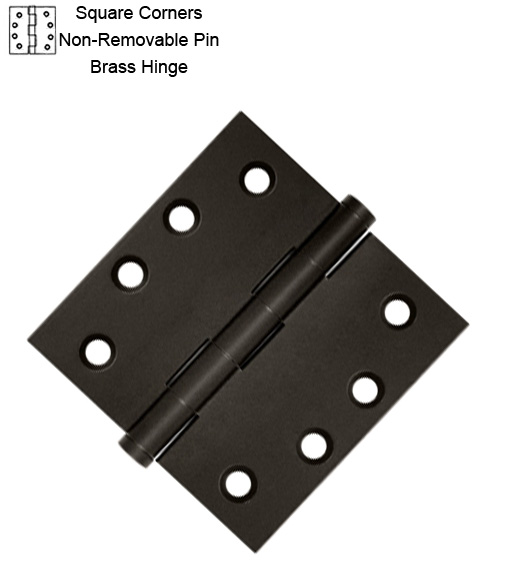 4 Inch Brass Hinge Non-Removable Pin