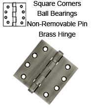 4 x 4 x Square Corners, Solid Brass Hinges with Non-Removable Pin and Ball Bearings, Pair, DSB4NB
