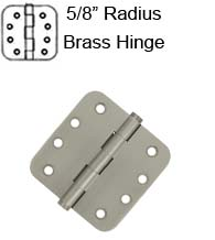 4 x 4 x 5/8 Radius Residential Solid Brass Hinge,  Pair, Deltana DSB4R5x-R