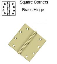 5 x 5 Heavy Duty Square Corner Solid Brass Hinge, Deltana DSB55