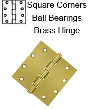 5 x 5 x Square Corners Heavy Duty with Ball Bearings Solid Brass Hinge, Pair, DSB55B
