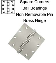 5 x 5 x Square Corners Solid Brass Hinges with Non-Removable Pin and Ball Bearings, Pair, DSB55NB