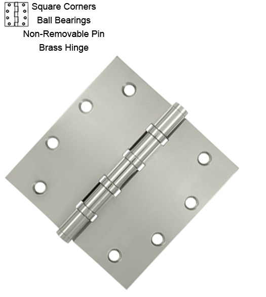 5 Inch Non-Removable Pin Brass Hinges with BB