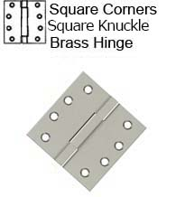 4 x 4 Square Knuckle Solid Brass Hinge, Deltana DSBS4