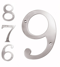 6 Inch High Solid Brass House Numbers, Deltana RN6