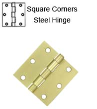 3 x 3 x Square Corners Residential Steel Hinge, Pair,  Deltana S33Ux-R