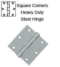 3-1/2 x 3-1/2 x Square Corners Heavy Duty Steel Hinge, Pair, Deltana S35HD