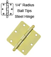 3-1/2 x 3-1/2 x 1/4 Radius Steel Hinge With Ball Tips, Pair, Deltana S35R4x-BT