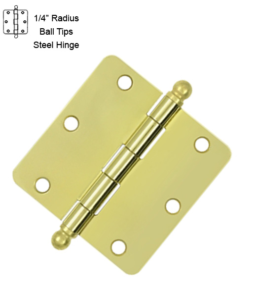 3-1/2 x 1/4 Radius Steel Hinge with Ball Tips