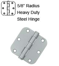 3-1/2 x 3-1/2 x 5/8 Radius Heavy Duty Steel Hinge, Pair, Deltana S35R5HD