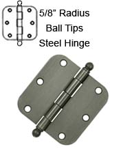 3-1/2 x 3-1/2 x 5/8 Radius Steel Hinge With Ball Tips, Pair, Deltana S35R5x-BT