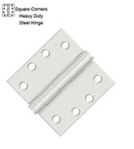 4 x 4 x Square Corners Heavy Duty Steel Hinge, Pair, Deltana S44HD