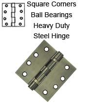 4 x 4 x Square Corners Heavy Duty with Ball Bearing Steel Hinge, Pair, Deltana S44HDBB