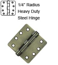 4 x 4 x 1/4 Radius Heavy Duty Steel Hinge, Pair, Deltana S44R4HD