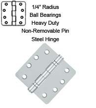 4 x 4 x 1/4 Radius Heavy Duty Non-Removable Pin Ball Bearing Hinges, Pair, Deltana S44R4HDBNRP