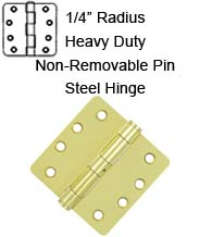 4 x 4 x 1/4 Radius HD Steel Hinge with Non-Removable Pin, Pair,  S44R4HDN