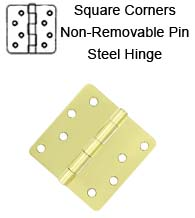 4 x 4 x 1/4 Radius Non-Removable Pin Steel Hinges, Pair, Deltana S44R4NRP