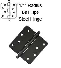 4 x 4 x 1/4 Radius Steel Hinge, Zigzag Holes With Ball Tips, Pair, Deltana S44R4x-BT