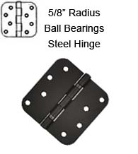 4 x 4 x 5/8 Radius With Ball Bearings Steel Hinge, Pair, Deltana S44R5BB