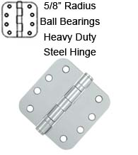 4 x 4 x 5/8 Radius Heavy Duty With Ball Bearings Steel Hinge, Pair, Deltana S44R5HDB