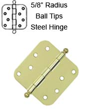 4 x 4 x 5/8 Radius Steel Hinge With Ball Tips, Pair, Deltana  S44R5x-BT