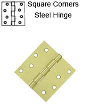 4 x 4 x Square Corners Residential Steel Hinge, ZigZag Holes, Pair, Deltana S44Ux-R