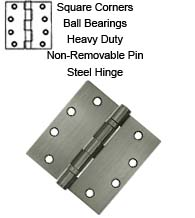 4-1/2 x 4-1/2 x Square Corners HD Steel Hinge  with 2 Ball Bearings, Non-Removable Pin, Pair, S45BBN