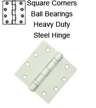 4-1/2 x 4-1/2 x Square Corners Heavy Duty Steel Hinge with Ball Bearing, Pair, Deltana S45BBU
