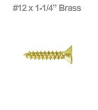 Solid Brass Wood Screw 12 x 1-1/4, SCWB12125