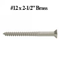 Solid Brass Wood Screw 12 x  2-1/2, SCWB1225