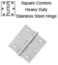 3 x 3 x Square Corners Heavy Duty Stainless Steel Hinge, Pair, Deltana SS33U