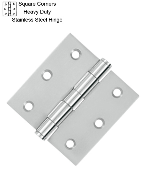 3 X 3 X Square Corners Heavy Duty Stainless Steel Hinge