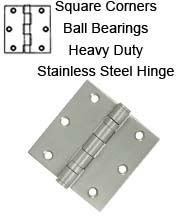 3-1/2 x 3-1/2 x Square Corners Stainless Steel Hinge 2 Ball Bearings, Pair, Deltana SS35BU
