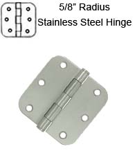 3-1/2 x 3-1/2 x 5/8 Radius Residential Stainless Steel Hinge, Pair, Deltana  SS35R5U32D-R