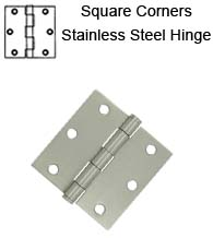 3-1/2 x 3-1/2 x Square Corners Residential Satin Stainless Steel Hinge, Pair, Deltana SS35U32D-R