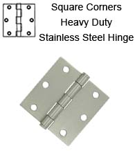 3-1/2 x 3-1/2 x Square Corners Heavy Duty Stainless Steel Hinge, Pair, Deltana SS35U