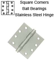 4 x 4 x Square Corners Residential Stainless Steel Hinge 2 Ball Bearings, Pair, Deltana SS44BU32D-R