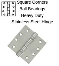 4 x 4 x Square Corners Heavy Duty Stainless Steel Hinge 2 Ball Bearings, Pair, Deltana SS44BU